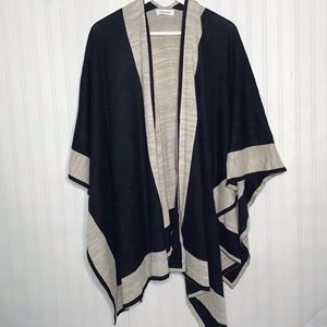 Calvin Klein reversible black and tan poncho style sweater OS